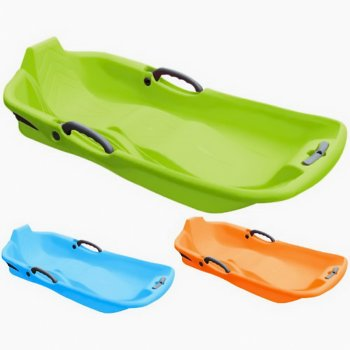 Snow Sleds Luge Classic Plastic Double Seat Sledge with Brake - Toboggan Bobsleigh