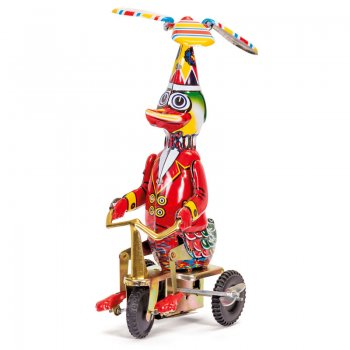 Schylling 213 Tin Plate - Wind up Clockwork - Duck on Bike