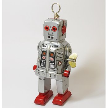 Schylling MS403S Tin Plate - Wind up Clockwork - Silver Space Robot Sparking