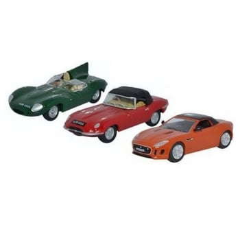 Oxford Diecast 1:76 76SET48 3 Piece Jaguar Set D, E & F Type