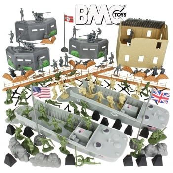 BMC Toys 1:32 BMC40009 WW2 D-Day 114pc Plastic Playset - Invasion of Normandy - Play or Paint