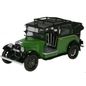 Oxford Diecast 1:43 AT005 Austin Low Loader Taxi - Green (Roof Down)