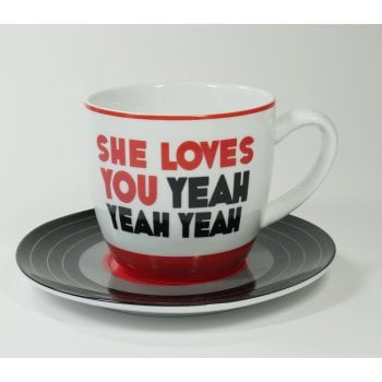 BLUW The Beatles She Loves You Lyric Cup & Vinyl 45 Styled Saucer