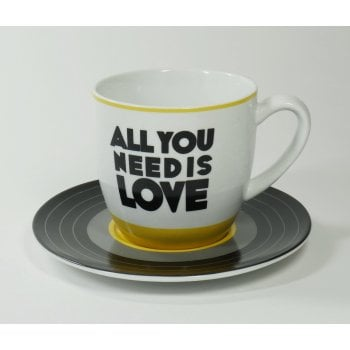 BLUW The Beatles All You Need is Love Lyric Cup & Vinyl 45 Styled Saucer