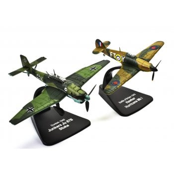 Atlas 1:72 4909302 Hawker Hurricane Mk.I & Junkers Ju-87B Stuka - Dunkirk 1940 - Duelling Fighters Model Plane