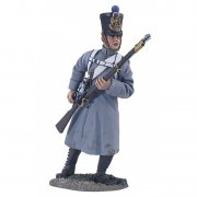 36093 - Napoleonic French Line Infantry Fusilier in Greatcoat Reaching for Cartridge No.1