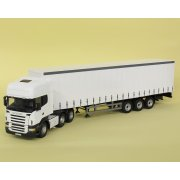 1:50 CR2627 Cararama Scania R Topline Cab Tractor Unit & 3 Axle Curtainside Trailer White